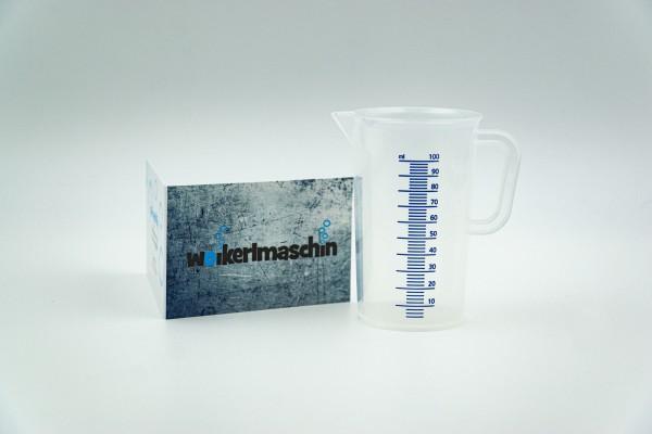 Messbecher PP 100 ml, blaue Skala, geschlossener Griff
